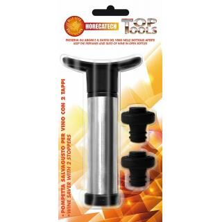 HORECATECH bottle cap set with manual vacuum pump