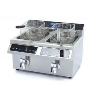 MAXIMA 2x8 liters induction fryer with drain tap