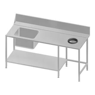 GAMMO dishwasher table with waste spout 180cm right