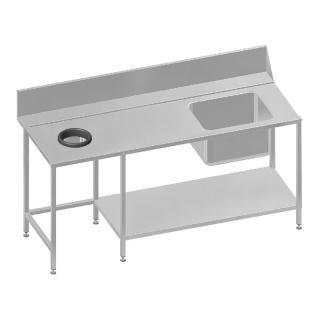 GAMMO dishwaser table with waste spout 180cm left